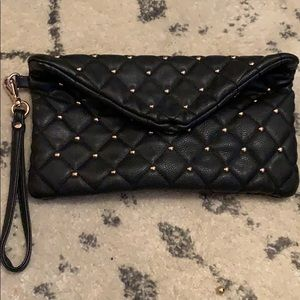 Black and gold studded wristlet